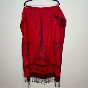 Red Paris scarf or wrap